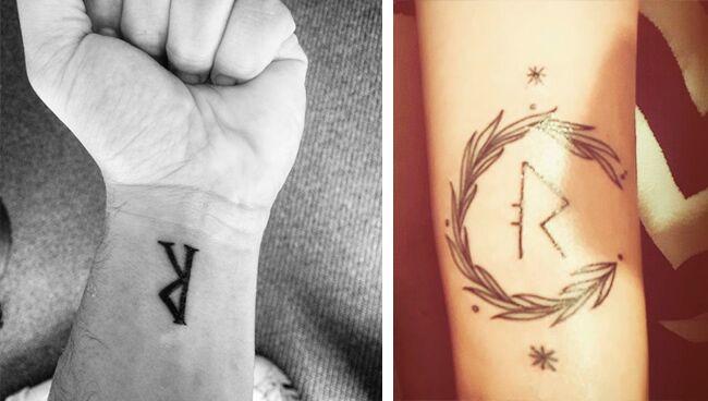 Татуировка с руной Райдо