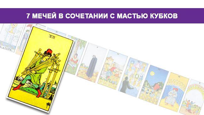 7 (Семёрка) Мечей Таро значение в сочетании с мастью Кубков