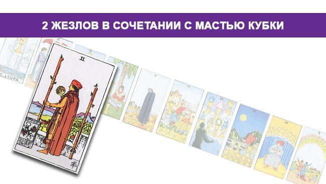 2 (Двойка) Жезлов (Посохов) Таро значение в сочетании с мастью Кубков