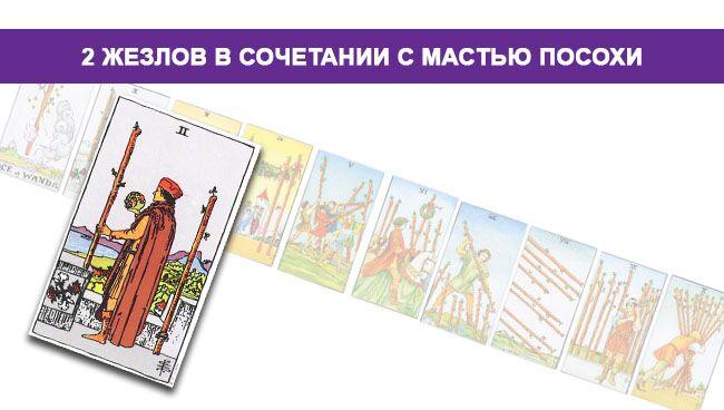 2 (Двойка) Жезлов (Посохов) Таро значение в сочетании с мастью Посохов