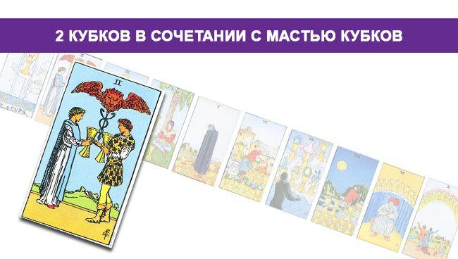 2 (Двойка) Кубков (Чаш) Таро значение в сочетании с мастью Кубков