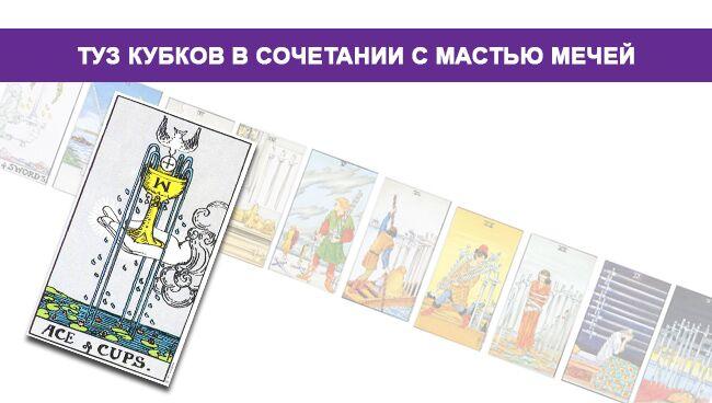Туз Кубков (Чаш) Таро значение в сочетании с мастью Мечей