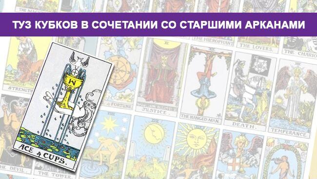 Туз Кубков (Чаш) Таро значение в сочетании со Старшими Арканами