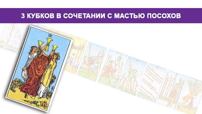 Тройка Кубков Таро значение в сочетании с мастью Посохов