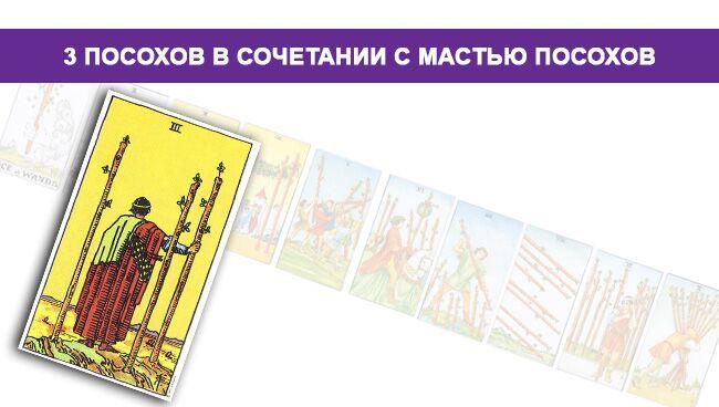3 (Тройка) Жезлов Таро значение в сочетании с мастью Посохов