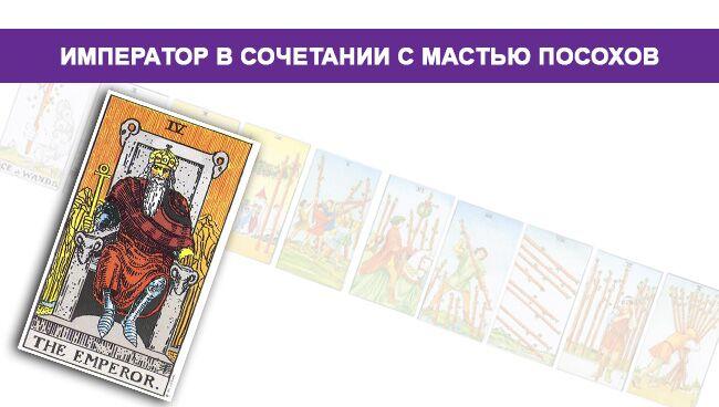 Император Таро значение в сочетании с мастью Посохов/Жезлов