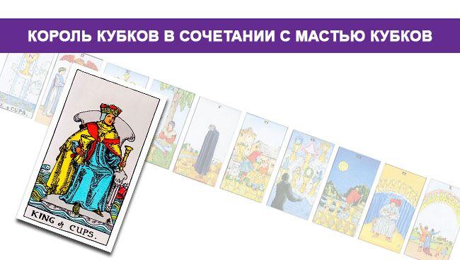 Король Кубков Таро значение в сочетании с мастью Кубков