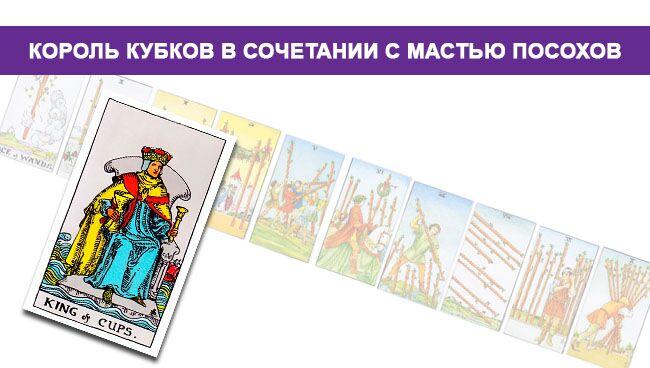 Король Кубков Таро значение в сочетании с мастью Посохов