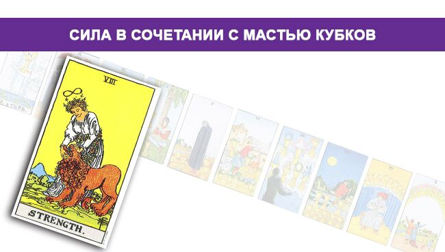 Значение карты Сила в сочетании с мастью Кубков