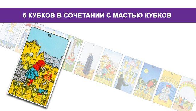 6 Кубков Таро значение в сочетании с мастью Кубков