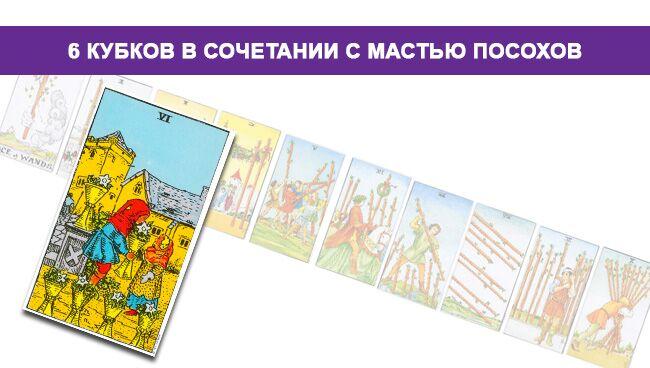 6 Кубков Таро значение в сочетании с мастью Посохов