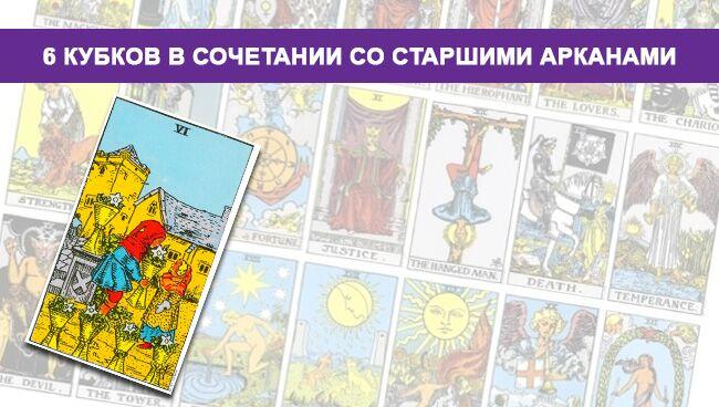 6 Кубков Таро значение в сочетании со Старшими Арканами