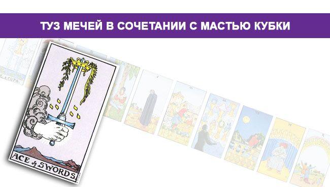 Туз Мечей Таро значение в сочетании с мастью Кубков