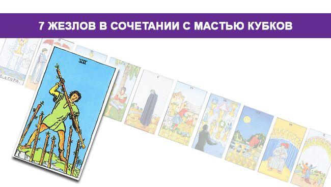 6 Жезлов Таро значение в сочетании с мастью Кубков