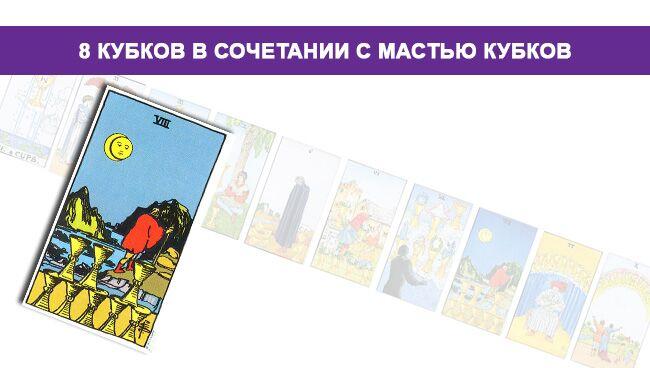 Значение 8 Кубков в сочетании с мастью Кубков
