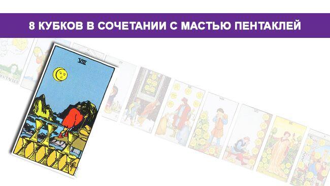 Значение 8 Кубков в сочетании с мастью Пентаклей