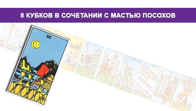 Значение 8 Кубков в сочетании с мастью Посохов