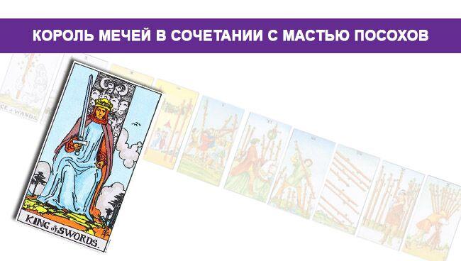 Значение Короля Мечей в сочетании с мастью Посохов Жезлов