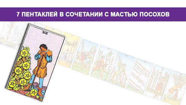 начение 7 Пентаклей в сочетании с мастью Посохов Жезлов