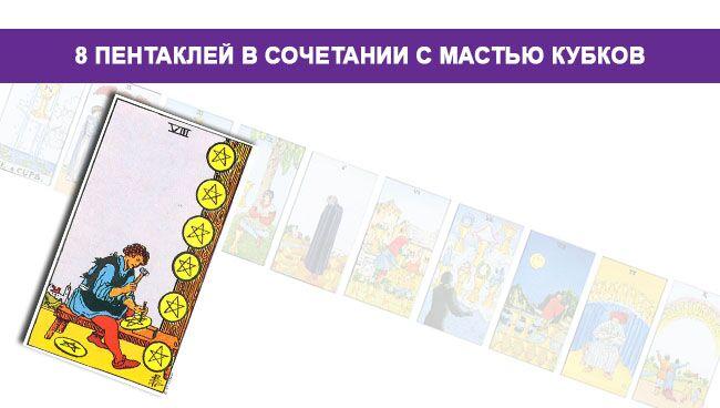 8 Пентаклей Денариев в сочетании с мастью Кубков Чаш