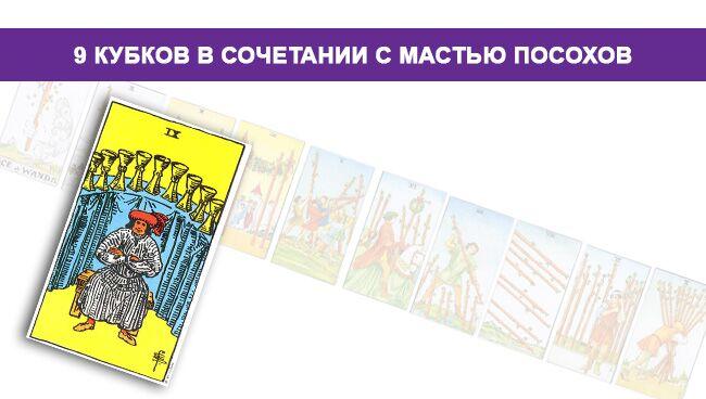 Значение 9 Кубков в сочетании с мастью Посохов