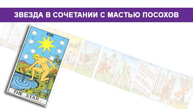 Значение Звезды в сочетании с мастью Посохов