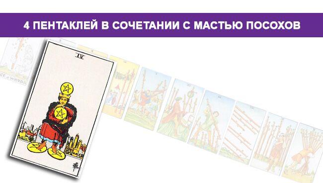 Значение 4 Пентаклей Денариев в сочетании с мастью Посохов