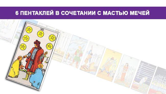 Значение 6 Пентаклей Монет в сочетании с мастью Мечей