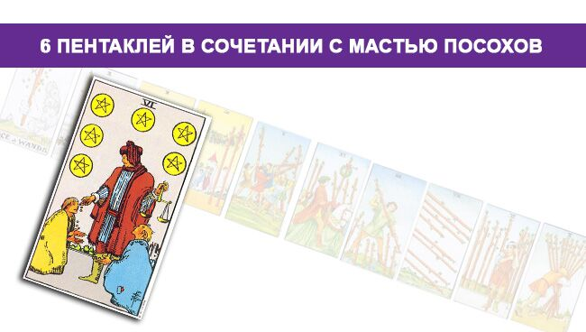 Значение 6 Пентаклей Монет в сочетании с мастью Посохов