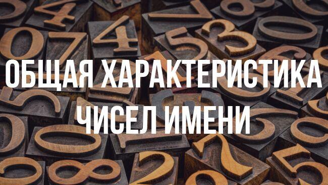 Общая характеристика чисел имени